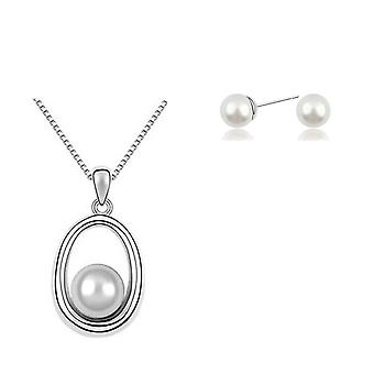 Womens Pearl Style Jewelry Set Pendant Necklace And Stud Earrings White Crystal Stone