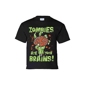 Kids T Shirt Zombies Ate Your Brain! Short Sleeve Tee
