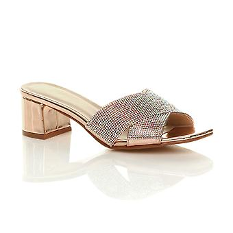 Ajvani womens mid block heel diamante summer holiday slip on mule sandals