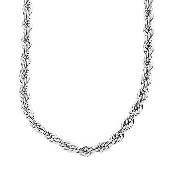 Iced out bling hip hop rope cord chain - 4 mm - silver 90 cm
