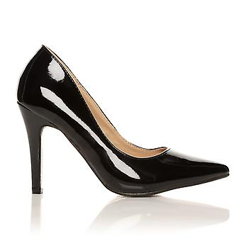 DARCY Black Patent PU Leather Stilleto High Heel Pointed Court Shoes