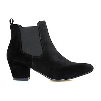 KATHY Black Faux Suede Classic Pointed Toe Low/Mid Heel Chelsea Ankle Boots