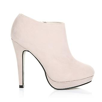 H20 Nude Faux Suede Stilleto Very High Heel Ankle Shoe Boots