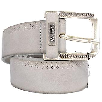 Replay Am2499 Grey Leather Belt
