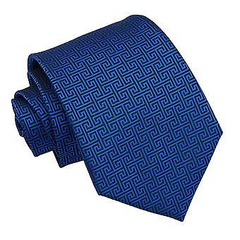 Niebieski Royal grecki klucz klasyczny krawat
