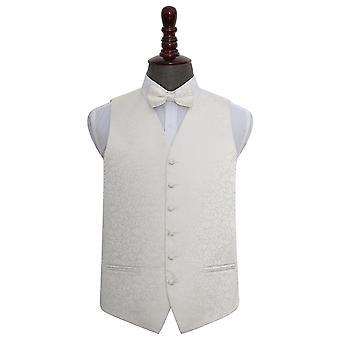 Ivory Swirl Wedding Waistcoat & Bow Tie Set