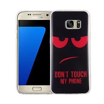 Handy Hülle für Samsung Galaxy S7 Cover Case Schutz Tasche Motiv Slim Silikon TPU Dont Touch my Phone Rot
