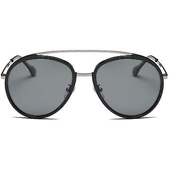 Polarized Round Aviator Sunglasses Metal Arms Colored Mirror Lens 56mm