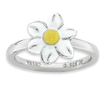 Sterling Silver Enamel Polished Rhodium-plated Stackable Expressions Jonquil Ring - Ring Size: 5 to 10