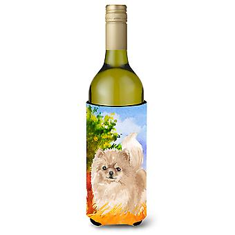 Fall Pomeranian Wine Bottle Beverage Insulator Hugger