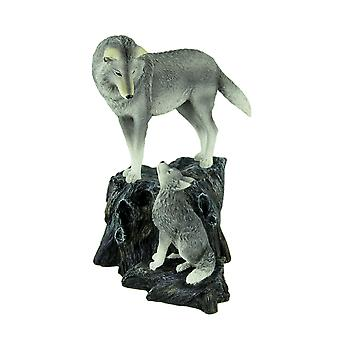 Lisa Parker Guidance Grey Wolf Mother and Child Statue