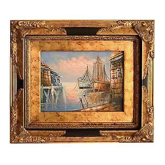 Der Hafen, Ölgemälde mit Rahmen, Innere Abmessungen 13 x 18 cm