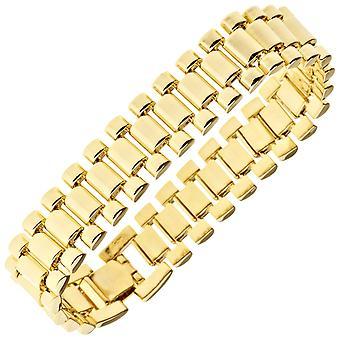 Iced out hip hop bling bracelet - LINK 15mm gold