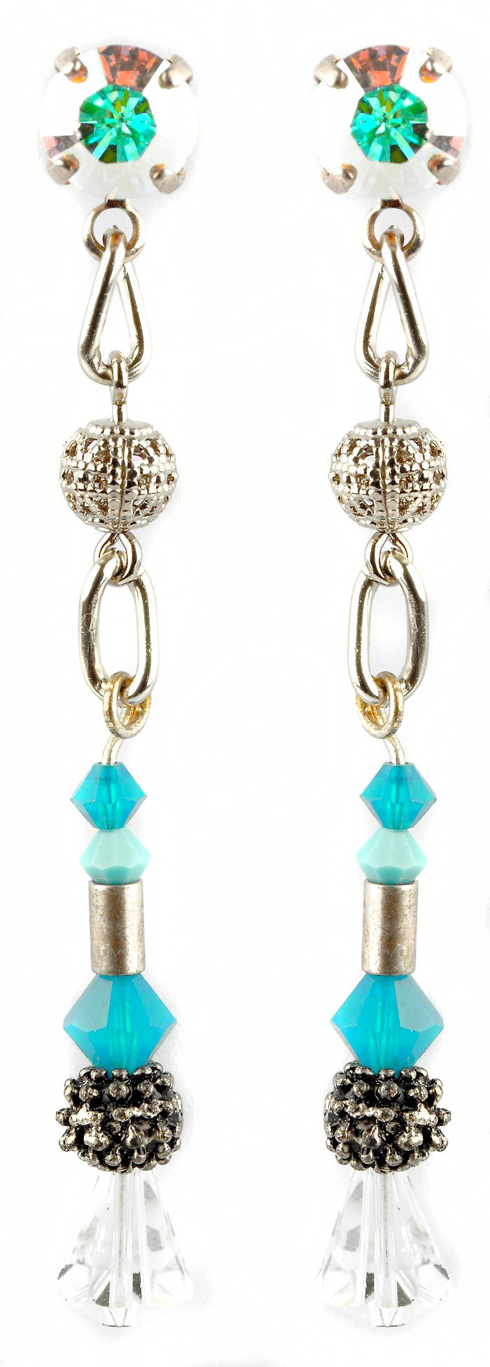 Waooh - Fashion Jewellery - WJ0682 - Earrings Earrings with Swarovski Strass & Pierre White - Metal Antique Silver