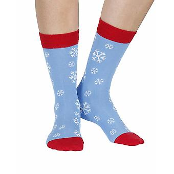 Snowflake women's soft bamboo crew socks in sky blue | By Doris & Dude