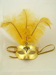 Superior Metallic Gold Feathered Eyemask (1)