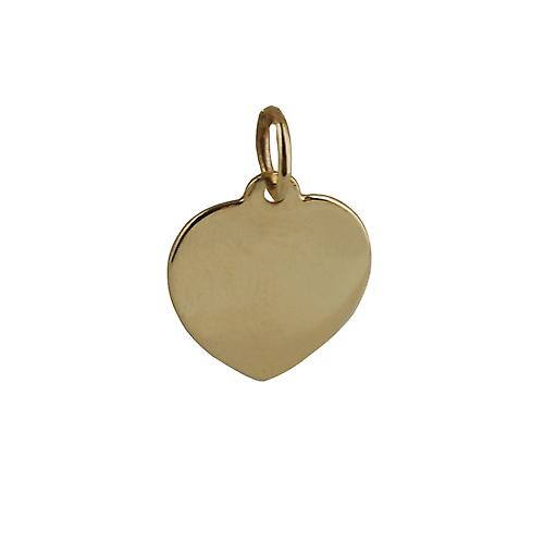 9ct Gold 14x14mm plain Heart disc