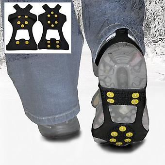 Small - Ice Traction Universal Slip-on Stretch Fit Snow & Ice Spikes (Grips Crampons Cleats) - 10 Studs - Small