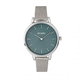 Simplify The 5800 Mesh Bracelet Watch - Silver/Teal