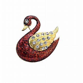 Gold vergoldet rot Ente Tier Brosche mit Gold Wings dekoriert CZ