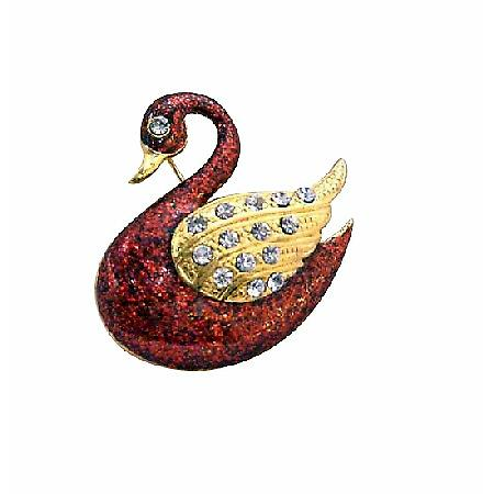Gold Plated Red Duck Animal Brooch with Gold Wings Decorated CZ