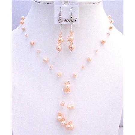 Prom Swarovski Peach Pearls Crystals Tassel Drop Down Jewelry Set