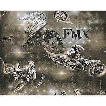 Moto de Motocross moto Wallpaper enfants adultes en relief Beige brun noir
