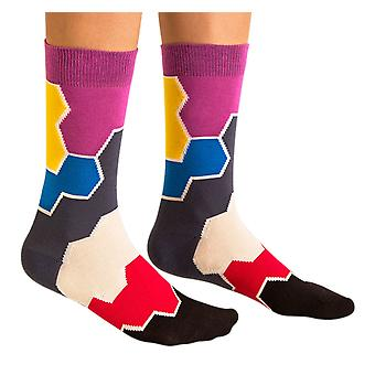 Molecule Toy luxury combed cotton crew socks in grey. Made by Ballonet