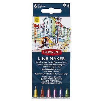 Derwent Line Maker Pen Colour Set of 6