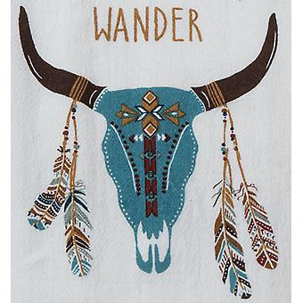 Southwestern Flair Adobe Steer Skull Wander Kitchen Flour Sack Towel Cotton