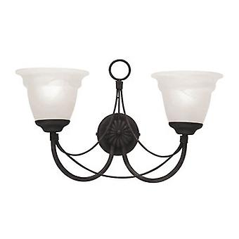 Gothic Black Double Wall Light with Optional GS81 Glass