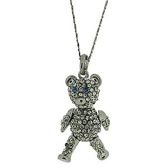 The Olivia Collection Ladies Moveable Teddy Bear Rhinestone Pendant in Gift Box