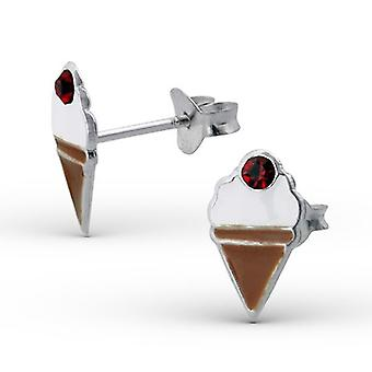 Sterling Silver and Crystal Ice Cream Stud Earrings