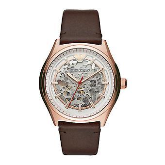Emporio Armani Ar60005 Brown Leather Strap Automatic Men's Watch