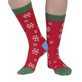 Snowflake women's soft bamboo crew socks in red | By Doris & Dude