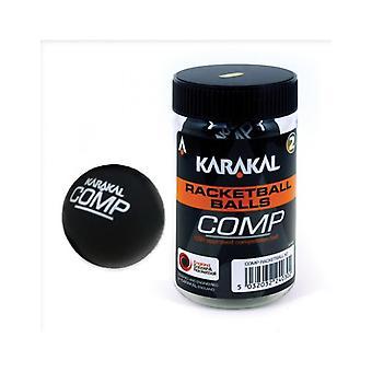 Karakal Wettbewerb Ball Black Squash Court Gummi Racketball Wanne - Packung mit 2