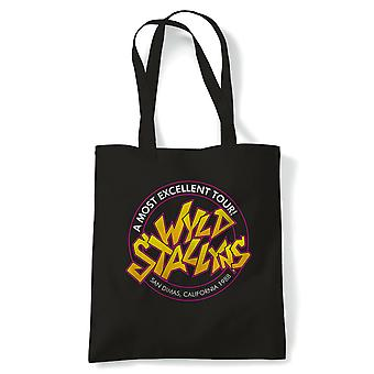 Wyld Stallyns Bill & Ted Movie Inspired Tote | Reusable Shopping Cotton Canvas Long Handled Natural Shopper Eco-Friendly Fashion