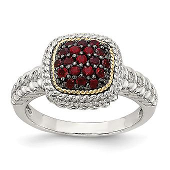 925 Sterling Silver With 14k and Black Rhodium Garnet Ring - Ring Size: 6 to 8