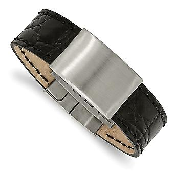 23.44mm Stainless Steel Brushed Black Leather ID Bracelet - 8.5 Inch