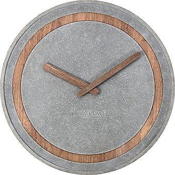 NeXtime - Wall Clock - Ø 39.5 cm - Polyresin/Wood – Grey – 'Concreto'