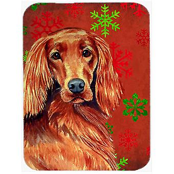 Irish Setter Red and Green Snowflakes Christmas Glass Cutting Board Large