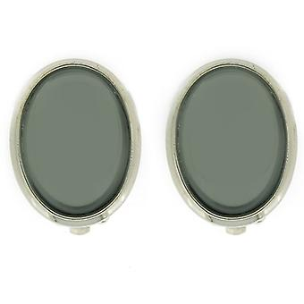 Clip On Earrings Store Silver Plated & Grey Liquid Crystal Oval Clip On Earrings