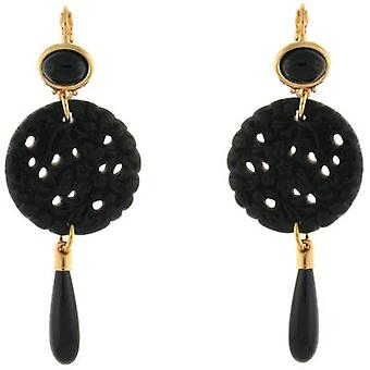 Kenneth Jay Lane Black Round Filigree Drop Earrings