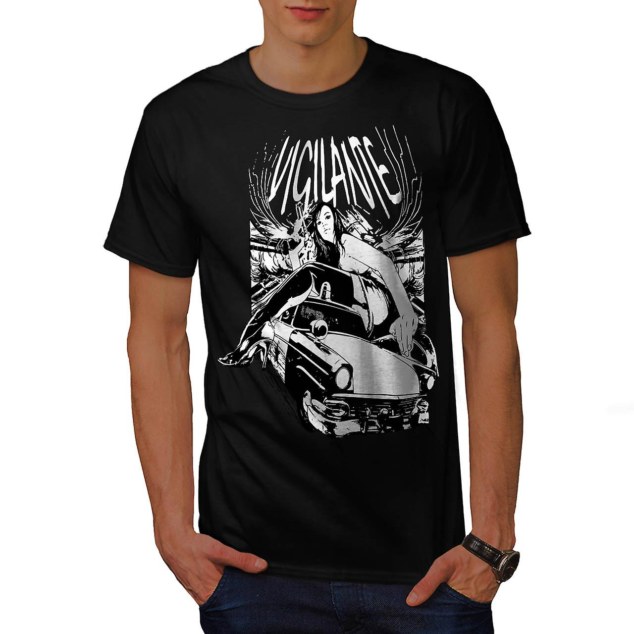 Sexy Girl Vigilante Auto Mobile Men Black T-shirt | Wellcoda