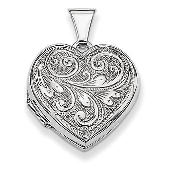 Sterling Zilver gepolijst patroon omkeerbare heeft 2 foto's geschoven hart medaillon - 1.9 gram