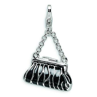 Sterling Silver Solid Rhodium-plated Fancy Lobster Closure 3-D Enameled Zebra Hand Bag With Lobster Clasp Charm - Measur