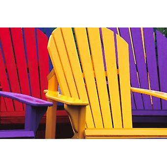 Colorful Adirondack Chairs Poster Print by Julie Eggers