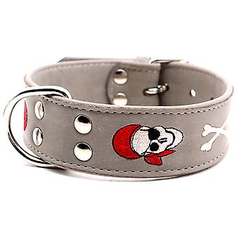 Doggy Things Pirate Dog Leather Collar Grey 60cm
