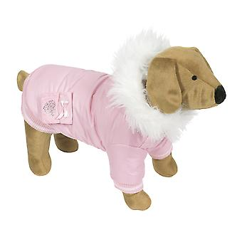 Doggy Things Diamante Pocket Parka Pink Extra Small