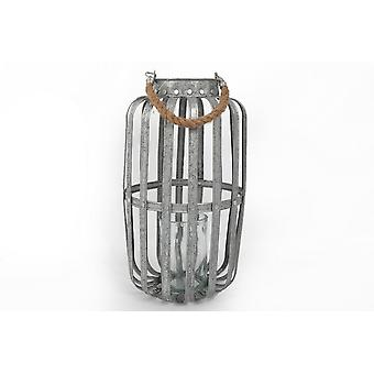 12X42CM GALVANISED CANDLE LANTERN HANGING ROPE HOME DECORATION
